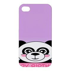 Panda Happy Birthday Pink Face Smile Animals Flower Purple Green Apple Iphone 4/4s Hardshell Case