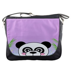 Panda Happy Birthday Pink Face Smile Animals Flower Purple Green Messenger Bags