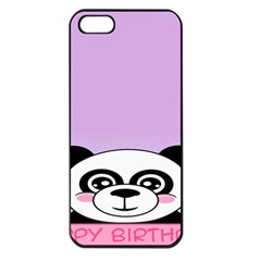 Panda Happy Birthday Pink Face Smile Animals Flower Purple Green Apple Iphone 5 Seamless Case (black)