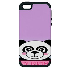 Panda Happy Birthday Pink Face Smile Animals Flower Purple Green Apple Iphone 5 Hardshell Case (pc+silicone)