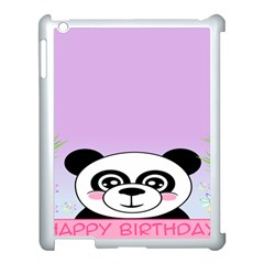 Panda Happy Birthday Pink Face Smile Animals Flower Purple Green Apple Ipad 3/4 Case (white) by Alisyart