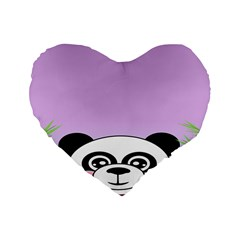 Panda Happy Birthday Pink Face Smile Animals Flower Purple Green Standard 16  Premium Heart Shape Cushions by Alisyart