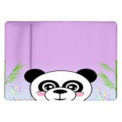 Panda Happy Birthday Pink Face Smile Animals Flower Purple Green Samsung Galaxy Tab 10 1  P7500 Flip Case