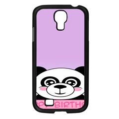 Panda Happy Birthday Pink Face Smile Animals Flower Purple Green Samsung Galaxy S4 I9500/ I9505 Case (black) by Alisyart