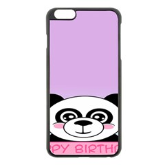 Panda Happy Birthday Pink Face Smile Animals Flower Purple Green Apple Iphone 6 Plus/6s Plus Black Enamel Case by Alisyart