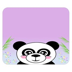 Panda Happy Birthday Pink Face Smile Animals Flower Purple Green Double Sided Flano Blanket (small)