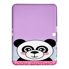 Panda Happy Birthday Pink Face Smile Animals Flower Purple Green Samsung Galaxy Tab 4 (10 1 ) Hardshell Case