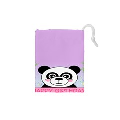 Panda Happy Birthday Pink Face Smile Animals Flower Purple Green Drawstring Pouches (xs)