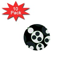 Origami Leaf Sea Dragon Circle Line Green Grey Black 1  Mini Buttons (10 Pack)