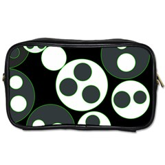 Origami Leaf Sea Dragon Circle Line Green Grey Black Toiletries Bags 2 Side