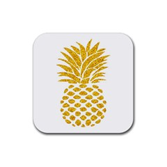 Pineapple Glitter Gold Yellow Fruit Rubber Coaster (square)  by Alisyart