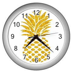 Pineapple Glitter Gold Yellow Fruit Wall Clocks (silver)  by Alisyart