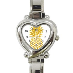 Pineapple Glitter Gold Yellow Fruit Heart Italian Charm Watch