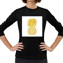 Pineapple Glitter Gold Yellow Fruit Women s Long Sleeve Dark T Shirts