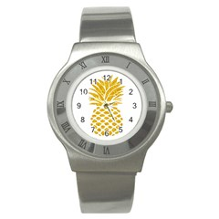 Pineapple Glitter Gold Yellow Fruit Stainless Steel Watch