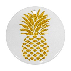 Pineapple Glitter Gold Yellow Fruit Round Ornament (two Sides) by Alisyart