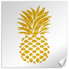 Pineapple Glitter Gold Yellow Fruit Canvas 12  X 12