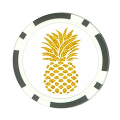 Pineapple Glitter Gold Yellow Fruit Poker Chip Card Guard (10 Pack) by Alisyart