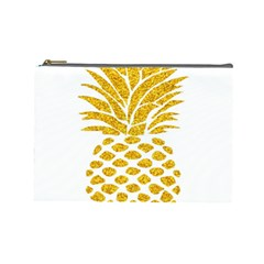 Pineapple Glitter Gold Yellow Fruit Cosmetic Bag (large)