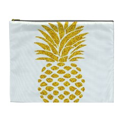 Pineapple Glitter Gold Yellow Fruit Cosmetic Bag (xl)
