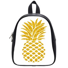 Pineapple Glitter Gold Yellow Fruit School Bags (small)