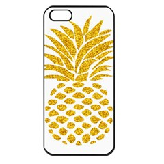 Pineapple Glitter Gold Yellow Fruit Apple Iphone 5 Seamless Case (black)