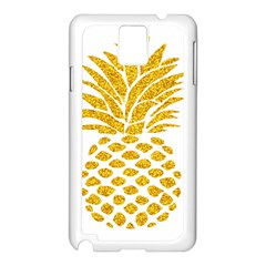 Pineapple Glitter Gold Yellow Fruit Samsung Galaxy Note 3 N9005 Case (white)