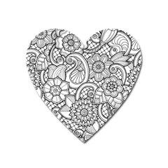 These Flowers Need Colour! Heart Magnet by Simbadda