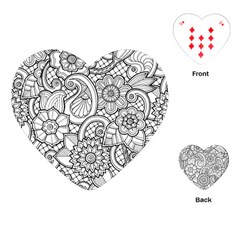 These Flowers Need Colour! Playing Cards (heart)  by Simbadda