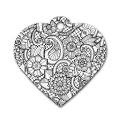These Flowers Need Colour! Dog Tag Heart (two Sides)