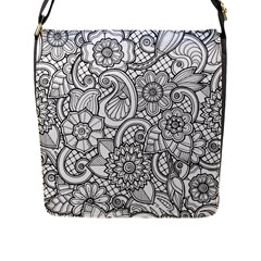 These Flowers Need Colour! Flap Messenger Bag (l)  by Simbadda