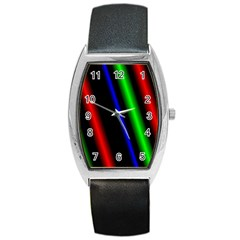 Multi Color Neon Background Barrel Style Metal Watch