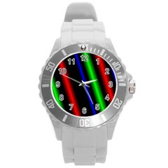 Multi Color Neon Background Round Plastic Sport Watch (l) by Simbadda