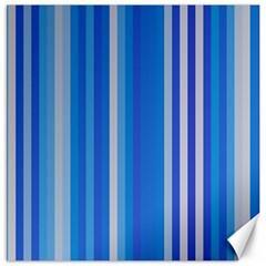 Color Stripes Blue White Pattern Canvas 20  X 20   by Simbadda