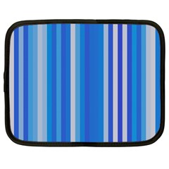 Color Stripes Blue White Pattern Netbook Case (large) by Simbadda