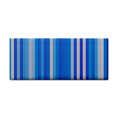 Color Stripes Blue White Pattern Cosmetic Storage Cases by Simbadda