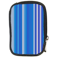 Color Stripes Blue White Pattern Compact Camera Cases by Simbadda