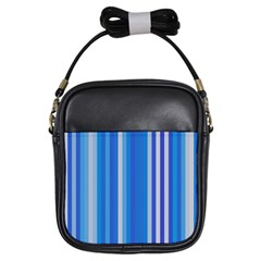 Color Stripes Blue White Pattern Girls Sling Bags by Simbadda