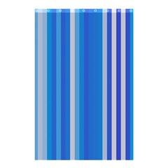 Color Stripes Blue White Pattern Shower Curtain 48  X 72  (small)  by Simbadda