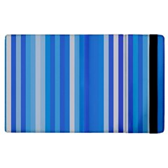 Color Stripes Blue White Pattern Apple Ipad 2 Flip Case by Simbadda