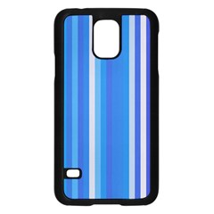 Color Stripes Blue White Pattern Samsung Galaxy S5 Case (black) by Simbadda
