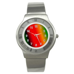 Multi Color Pattern Background Stainless Steel Watch by Simbadda