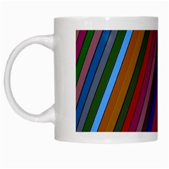 Color Stripes Pattern White Mugs