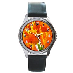 Mosaic Glass Colorful Color Round Metal Watch by Simbadda