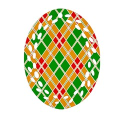 Colorful Color Pattern Diamonds Oval Filigree Ornament (two Sides)