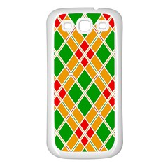 Colorful Color Pattern Diamonds Samsung Galaxy S3 Back Case (white)