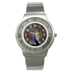 Multi Colored Peacock Stainless Steel Watch by Simbadda