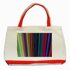 Multi Colored Lines Classic Tote Bag (red)
