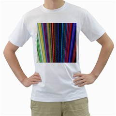 Multi Colored Lines Men s T Shirt (white)