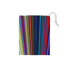 Multi Colored Lines Drawstring Pouches (small)